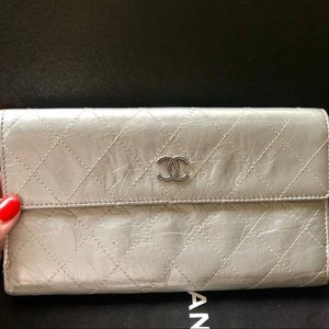 CHANEL Silver Quilted Leather CC Logo Long Wallet